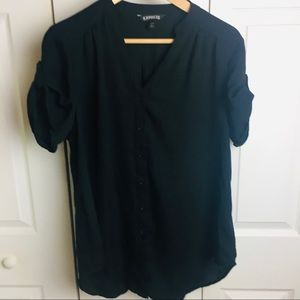 Express Oversized black sheer button down blouse